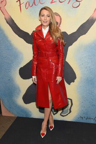 coat trench coat ny fashion week 2018 fashion week fashion week 2018 blake lively valentines day red pumps celebrity shoes