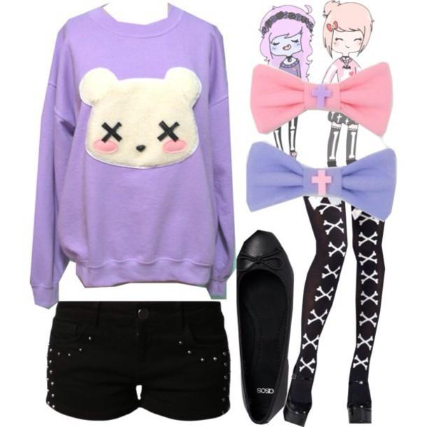 Sweater Pastel Goth Purple Pastel Goth Sweater Socks Cute Kawaii - Wheretoget