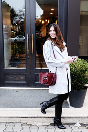 maritsa,blogger,bag,jeans,top,coat,shoulder bag,winter outfits,boots,high heels boots,black boots,pants,black pants,tumblr,white coat,red bag,burgundy,knee high boots