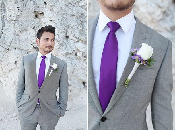 Blouse Suit Purple Grey Wedding Clothes