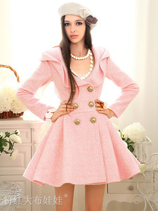 Women's pink trench wool coat jacket parka fashion slim fit girl outwear c82