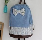 bag,denim,denim bag,blue,light blue,dark blue,bow,floral,girly,school bag,indie,vintage,pockets,backpack,denim backpack,brown,white,lace