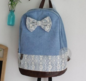 bag denim denim bag blue light blue dark blue bow floral girly school bag indie vintage pockets backpack denim backpack brown white lace