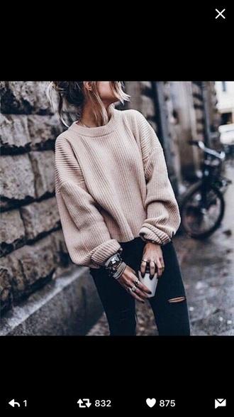 sweater lace up nude sweater nude sweater nude all nude everything camel white white sweater vanilla tote vanila sweater weather printed sweater pullover pull vintage pullover nude pullover