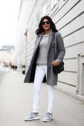 fashion landscape,blogger,sunglasses,shoes,coat,jeans,sweater,bag