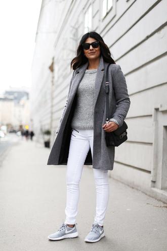 fashion landscape blogger sunglasses shoes coat jeans sweater bag