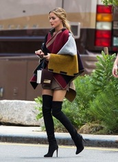 coat,olivia palermo,boots,shoes,thigh highs,high heels,heels,heel boots,winter outfits,fall outfits,f/w,fall winter,chunky,high,heeled,ankle boots,chelsea boots,jacket,cardigan