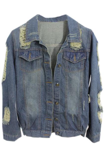 ROMWE | Cut-out Fading Dark-blue Denim Coat, The Latest Street Fashion
