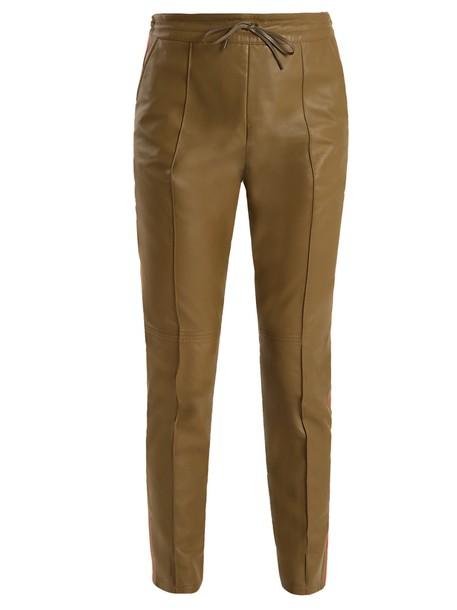 Joseph leather khaki pants