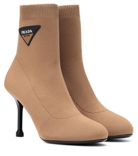 Prada Logo sock boots in brown