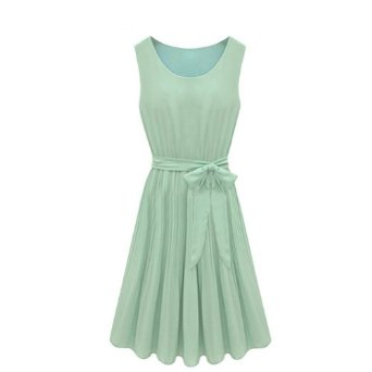 Amazon.com: Pleated Chiffon Mint Green Sleeveless Dress With Belt: Clothing