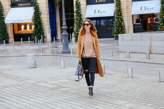 prosecco and plaid blogger sunglasses camel coat ripped jeans winter outfits camel jeans sweater shoes coat bag