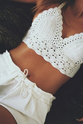 top cotton white crop tops bralette cropped summer outfits beach bikini tumblr knitwear boho boho chic indie indie boho hippie hippie chic crochet