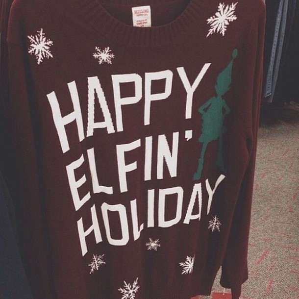 Sweater India Love Vintage Holidays Holidays Happy Red Elf