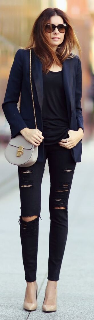 bag leather purse black skinny jeans blue blazer nude pumps chloe chloe drew bag crossbody bag ripped jeans black tank top streetstyle black sunglasses nude stilettos