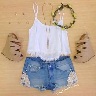 shoes shirt shorts wedges heels crop tops cute cute high heels woman's clothing hat blouse lace shorts denim denim shorts summer shorts tank top white top flower crown flowers crown high heels summer outfit summer outfits pretty inspiration summer time summer high heels pants hair accessory