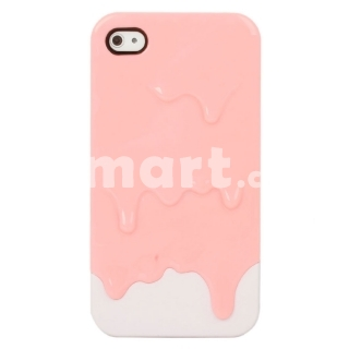 Melting Ice Cream Hard Back Case for iPhone 4/4S Pink & White - Tmart.com