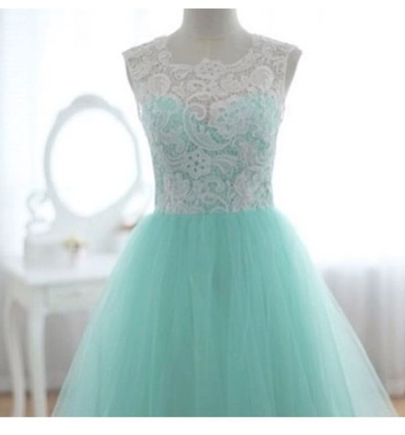 Turqoise ball gown round neckline sweep train wedding dress/ bridal dress/ wedding gown