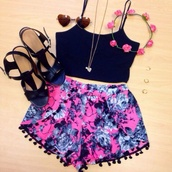 shorts,flowered shorts,pom pom shorts,beach shorts,boho,cute,outfit,top,purple,colorful,festival,pink and black pom pom  shorts,floral,blue,pink,tank top,black crop top,shirt,hair accessory,pajamas,pants,colorful shorts,flowy,black,flowers