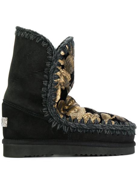 Mou women winter boots black shoes