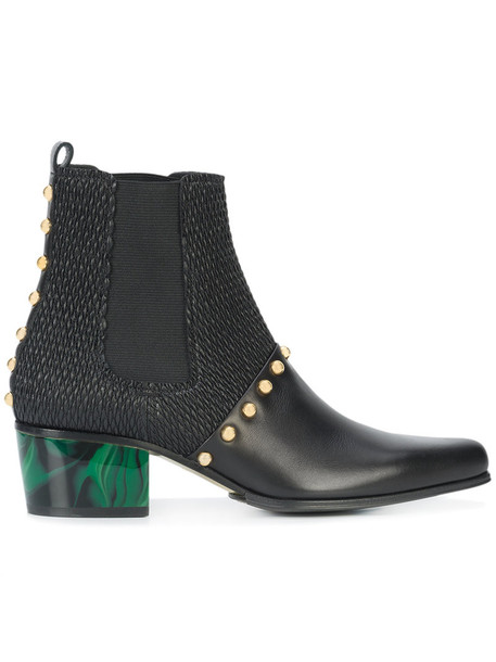 Balmain women ankle boots leather black shoes
