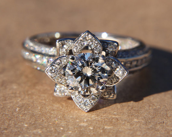 UNIQUE Flower Rose Diamond Engagement or Right door BeautifulPetra