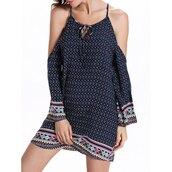 dress,pattern,fashion,long sleeves,off the shoulder,trendy,cool,rosewholesale.com,boho