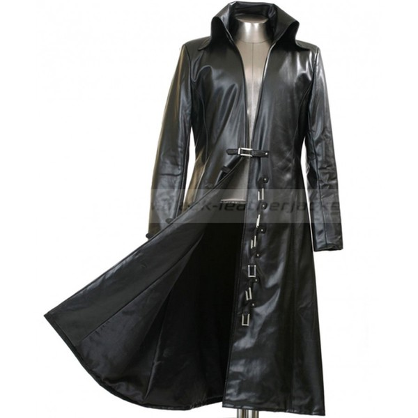 Mens Long Black Trench Coat | Black Leather Jacket for Men