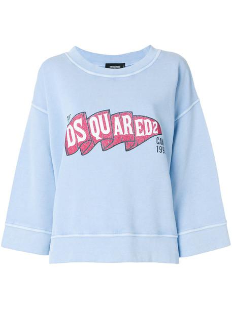 Dsquared2 sweatshirt women cotton blue sweater