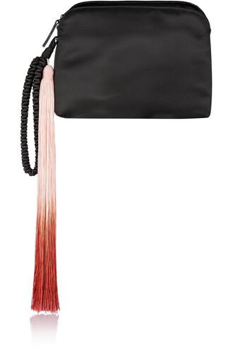 clutch silk satin black bag