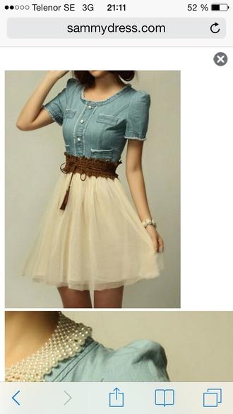 dress denim dress white brown belt