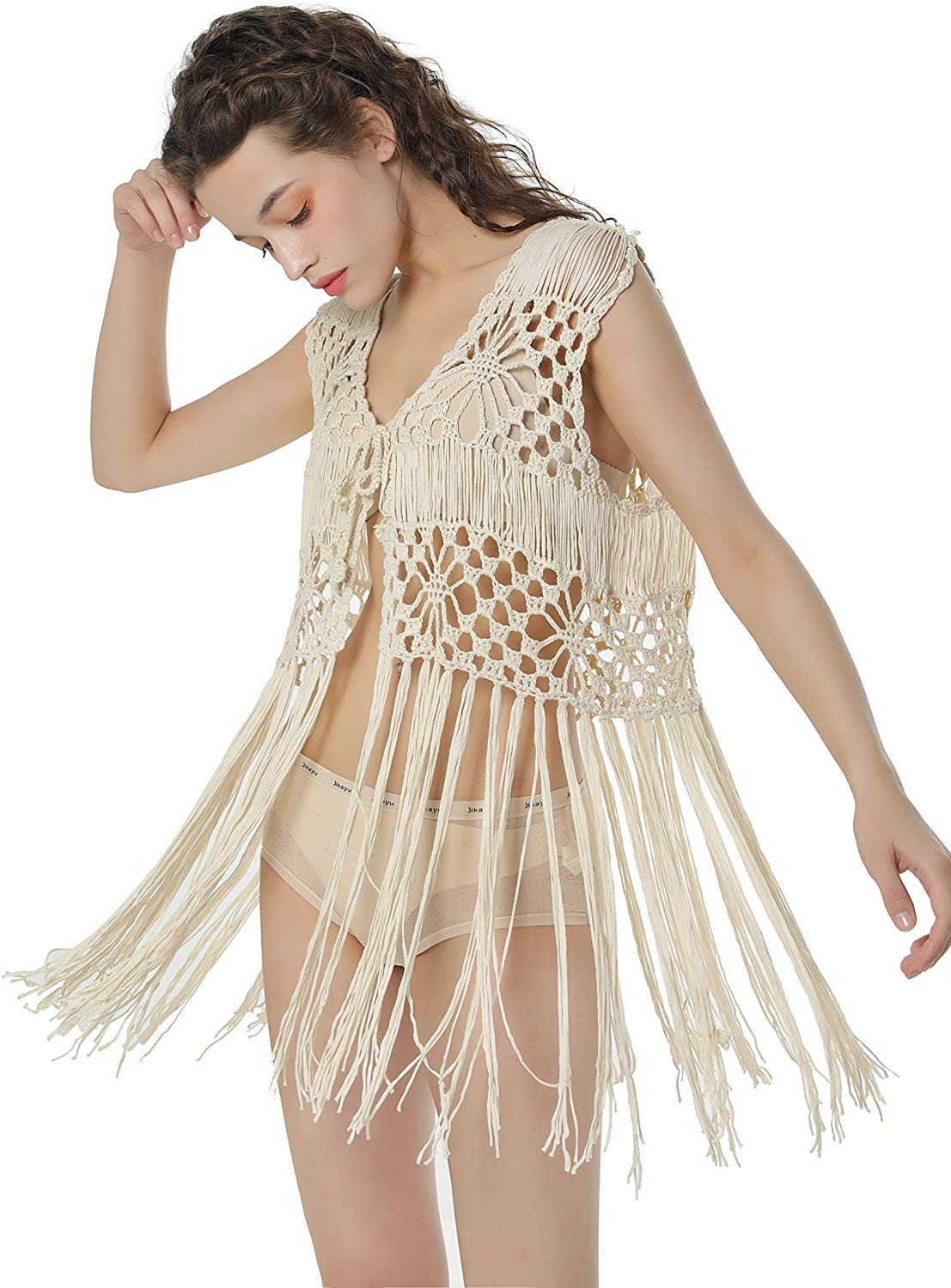 Acemi Sleeveless Crochet Long Tassels Fringe Vest 70s Cover up Hippie Clothes for Women Free Size at Amazon Women's Clothing store