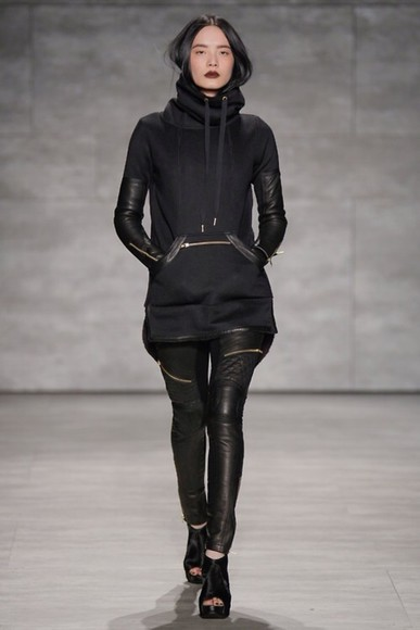 pants hoodie black leather leather pants