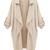 Beige Coat With Half Sleeves - Choies.com