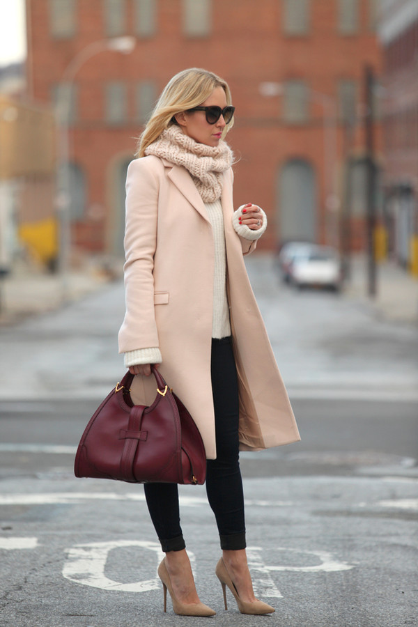 brooklyn blonde coat jeans sweater shoes sunglasses bag