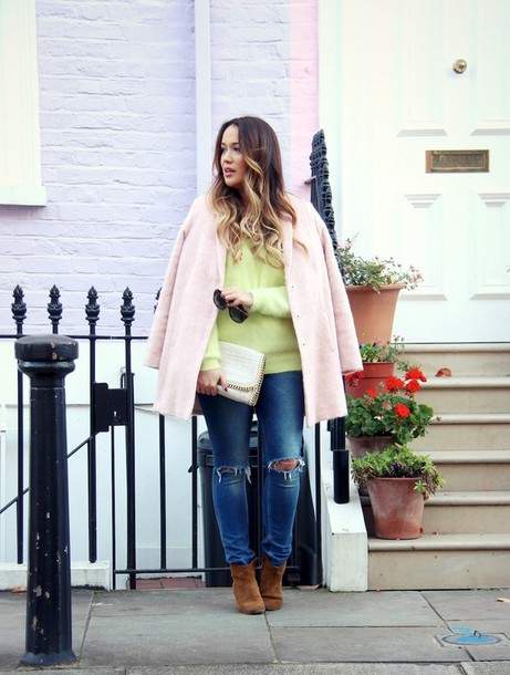 louhayhay coat sweater jeans shoes jewels bag