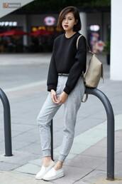 pants,casual,sweatpants,lounge wear,grey pants,sneakers,white sneakers,top,black top,sweatshirt,backpack