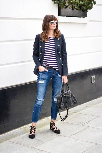 shoes navy blue blazer striped shirt ripped jeans lace up flats blogger sunglasses