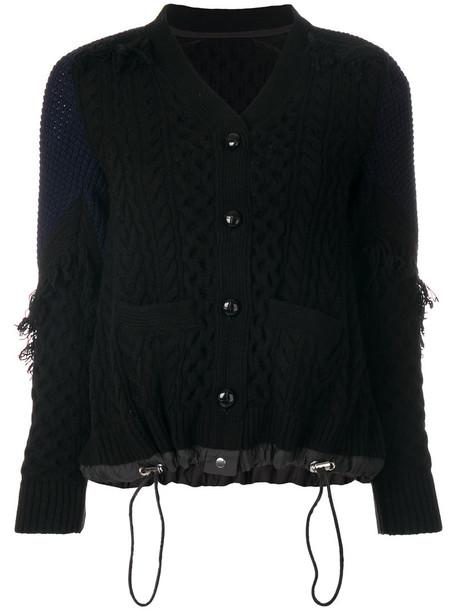 Sacai cardigan cardigan women black wool knit sweater