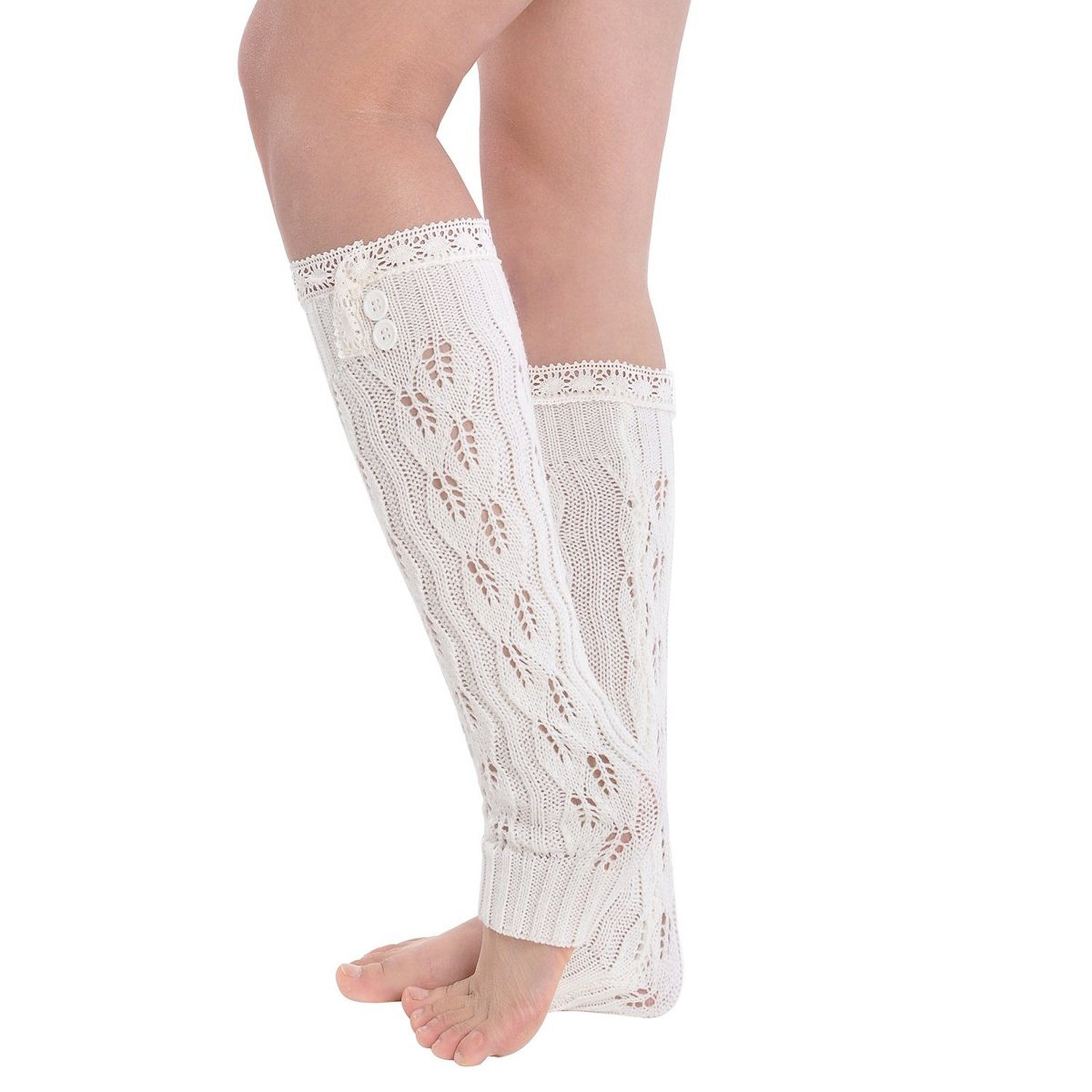 Amazon.com: kathlena® women knee high crochet lace knitted buttons down braid leg warmers white: clothing
