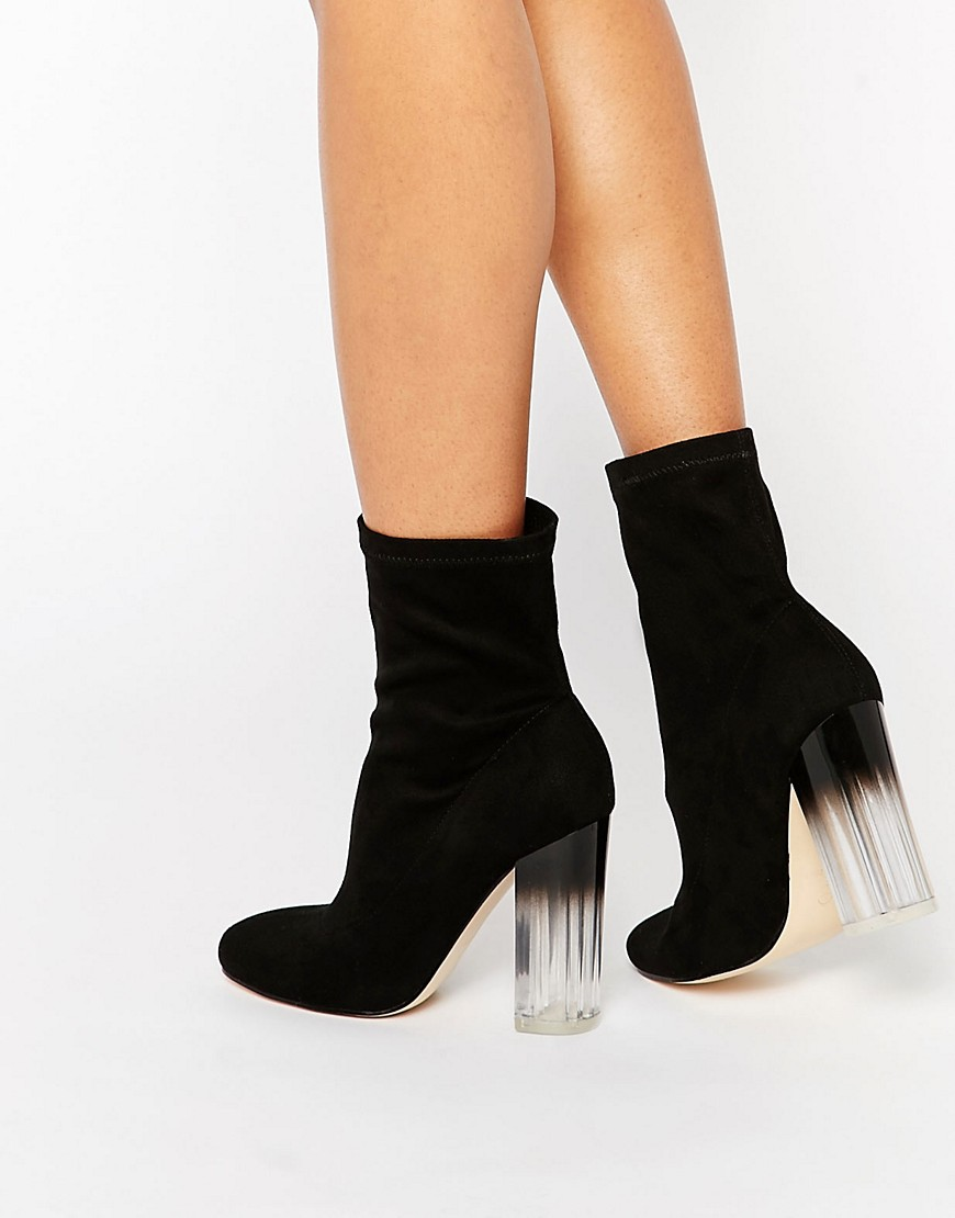Truffle Collection Theda Sock Clear Heeled Ankle Boots at ...