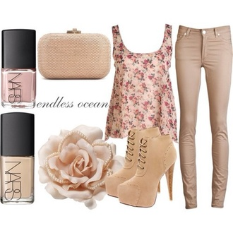 shoes pants blouse shirt bag floral tank top cute high heels clutch pink roses classy