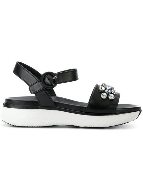 Prada women daisy sandals leather black shoes