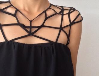 top black top black shirt straps thin straps cool pattern special