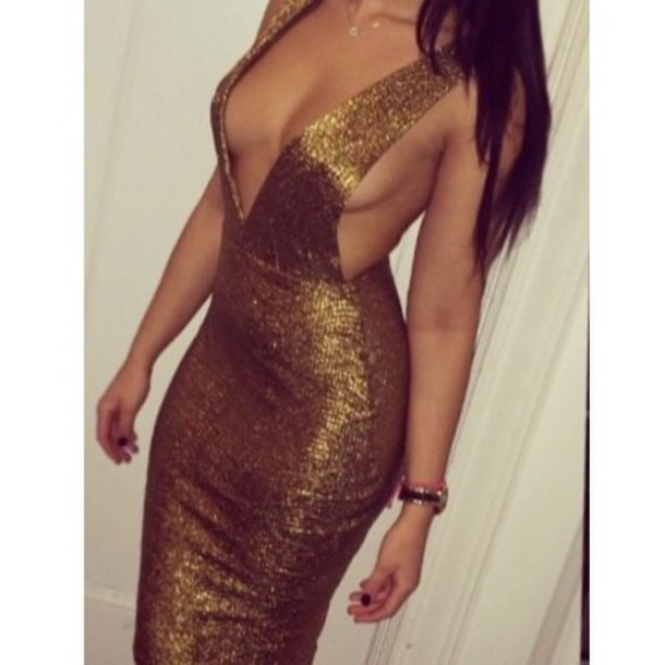 dress gold sequin dress style fashion midi skirt sexy dress plunging back dress prom dress evening dress sleeveless new year's eve