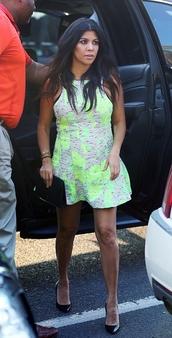 dress,neon,mini dress,kourtney kardashian