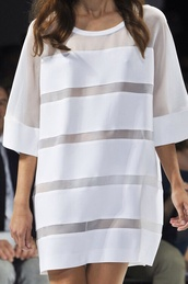 dress,white,white dress,oversized shirt,runway,fashion,tshirt dress,tumblr,tumblr dress,model,oversized,mesh,panels,stripes,t-shirt,top,dress top