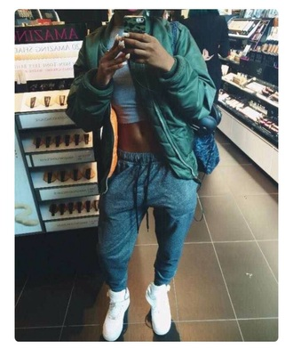 pants joggers bomber jacket grey grey sweatpants style dope coat