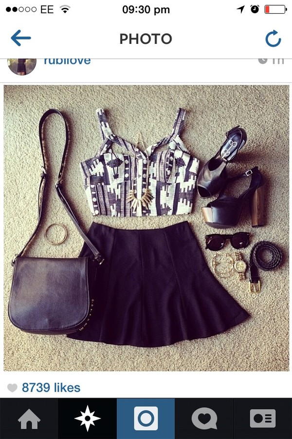 blouse black and white crop top