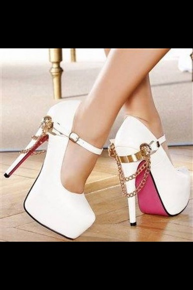 shoes gold chains high heels cute high heels white white high heels pink gold chains